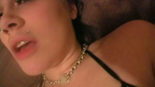 Pierced Dark-haired Nubile Andi Getting Insatiable For You At The Sofa