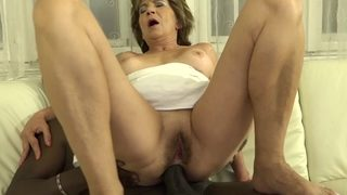 Granny Fur Covered Cooter Drains Smashes Dark-hued Dude Man Rod