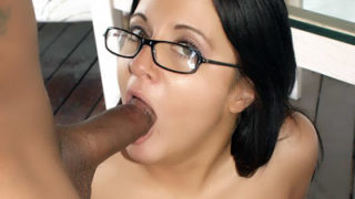 Spectacular Gal With Glasses Throating A Dark-hued Lollipop