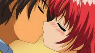 Flamy Crimson Haired Anime Dame Making Enjoy Together With Her Beau